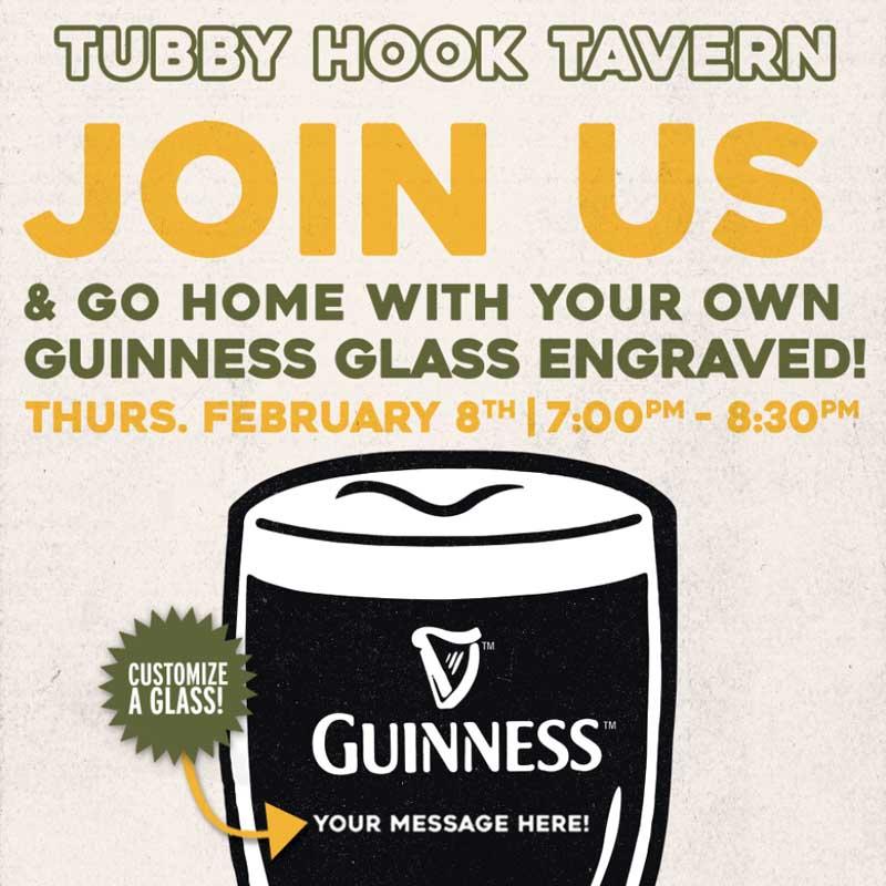Tubby Hook Engraved Guinness Gravity Glass Night