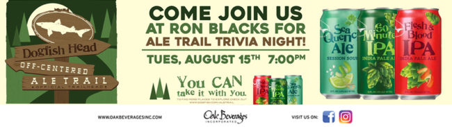 Ron Blacks Dogfish Head Ale Trail Trivia Night