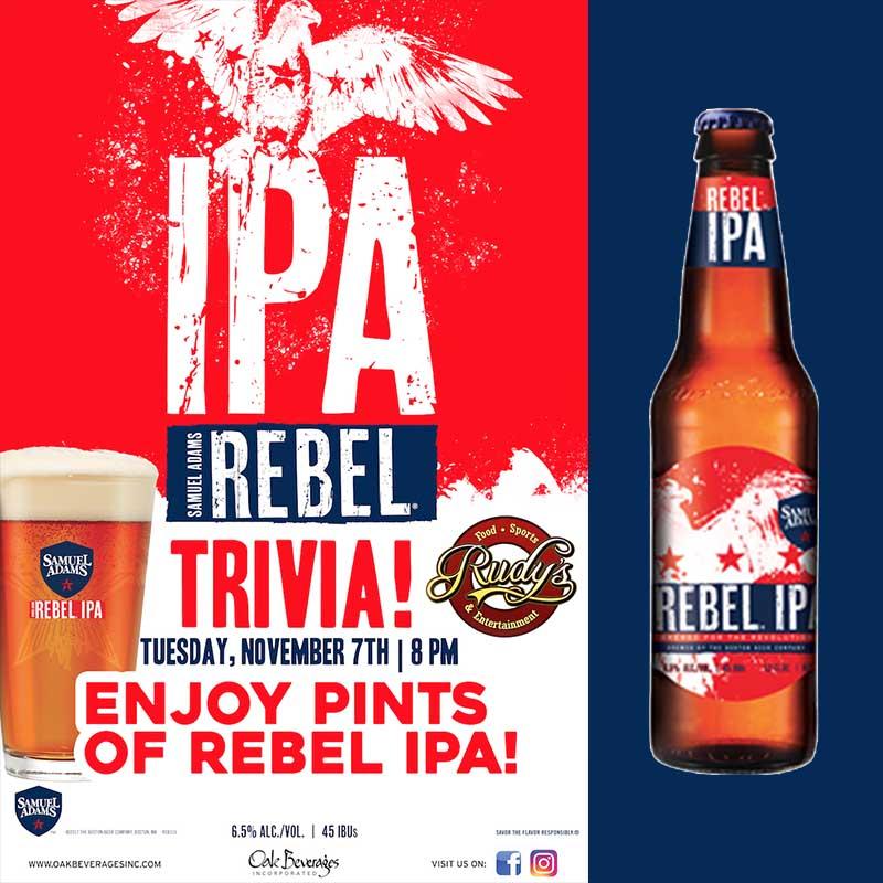 Rudy's Samuel Adams Rebel IPA Trivia Night