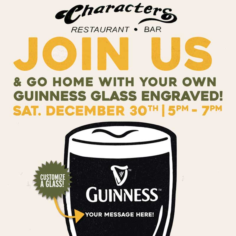 Characters Guinness Glass Engraving Night