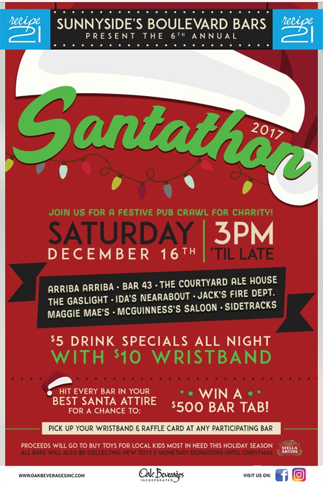 Sunnyside's Boulevard Bars Present The 6th Annual Santathon 2017