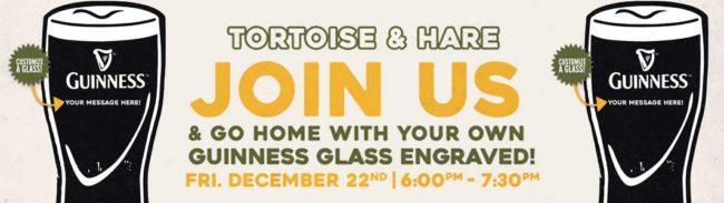 Tortoise & Hare Engraved Guinness Glass Night