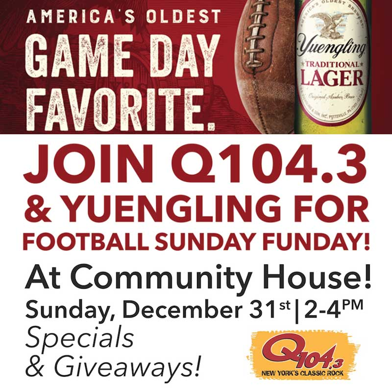 Community House Football Sunday Funday with Q1043 and Yuengling