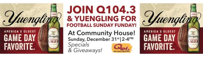 Community House Football Sunday Funday with Q1043 & Yuengling