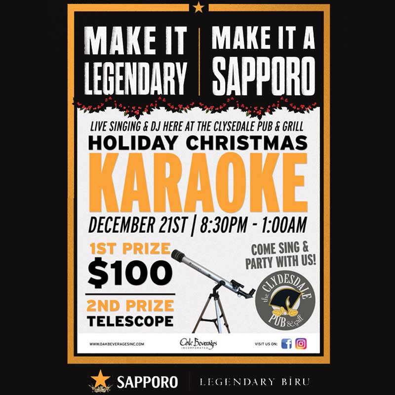 The Clydesdale Pub host Sapporo Christmas Karaoke