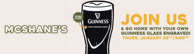 McShane's Engraved Guinness Gravity Glass Night