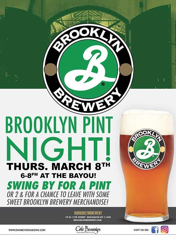 Bayou Restaurant host Brooklyn Brewery Pint Night