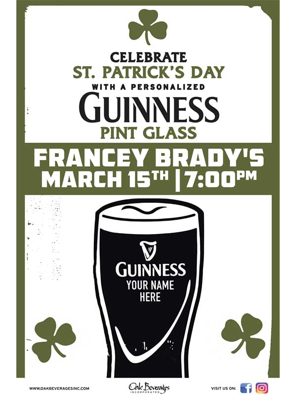 Francey Brady's Personalized Guinness Glass Event