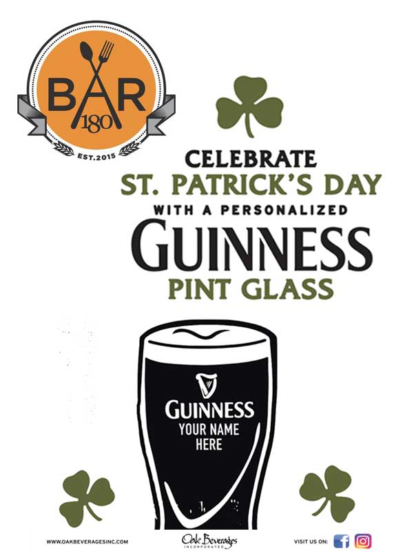 Bar 180 NYC Personalized Guinness Glass Event