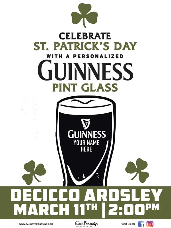Decicco's Ardsley Personalized Guinness Glass Event