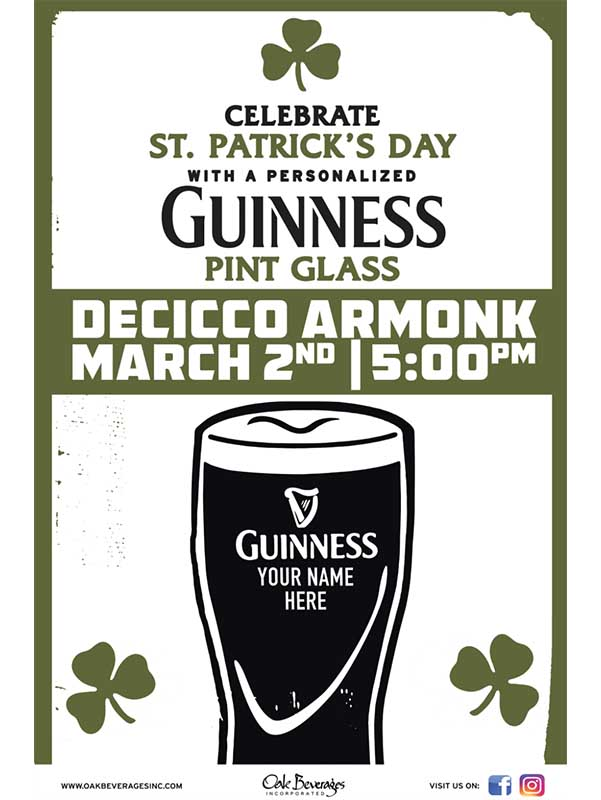 Decicco's Armonk Personalized Guinness Glass Event