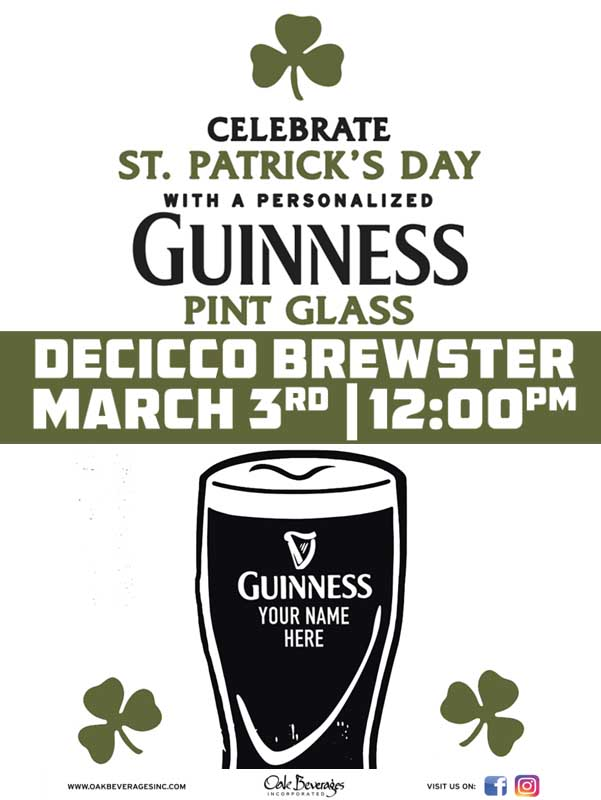 Decicco's Brewster Personalized Guinness Glass Event