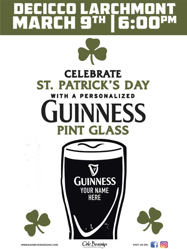 Decicco's Larchmont Personalized Guinness Glass Event