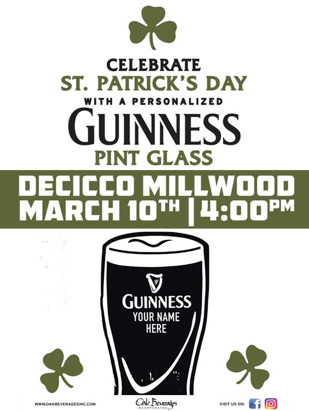 Decicco's Millwood Personalized Guinness Glass Event
