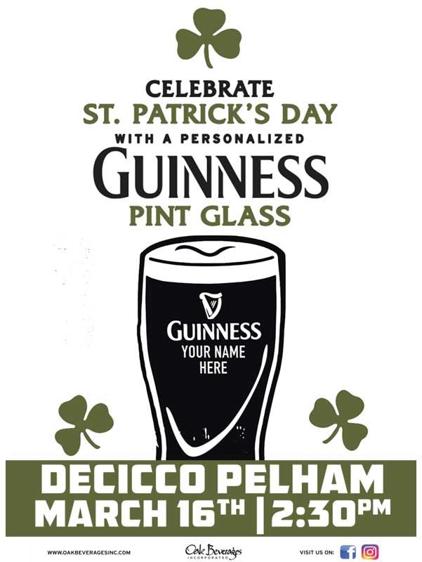 Decicco's Pelham Personalized Guinness Glass Event