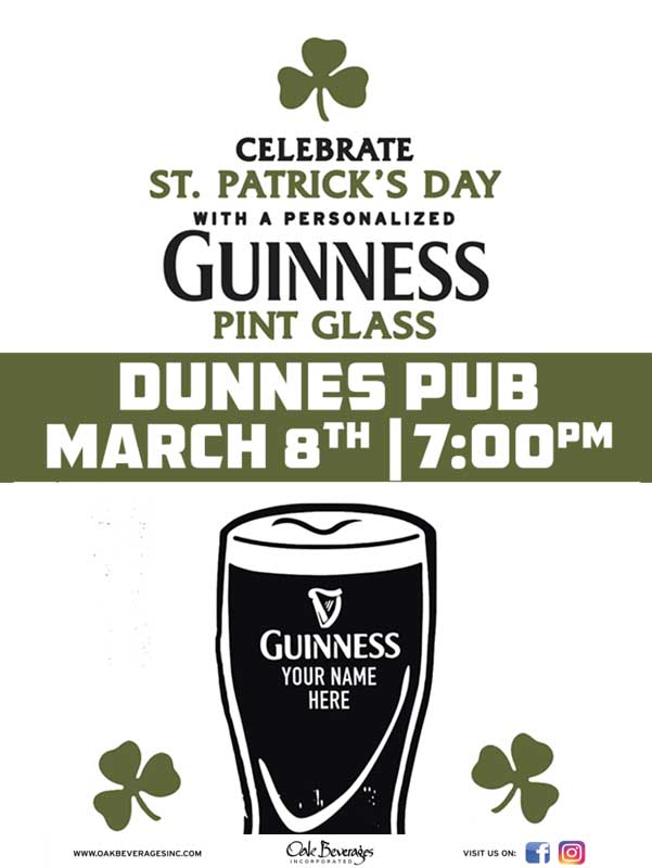 Dunne's Pub Personalized Guinness Glass Event