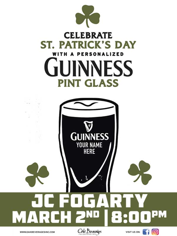 JC Fogartys Personalized Guinness Glass Event