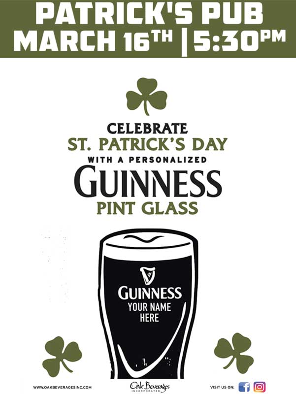 Patrick's Pub Personalized Guinness Glass Event