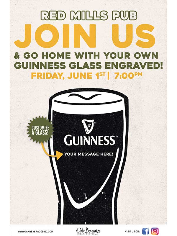 Personalized Guinness Glass Event Red Mills Pub
