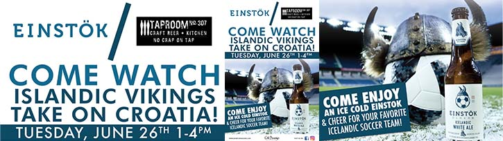 Watch Iceland vs Croatia at Taproom No.307 with Einstok
