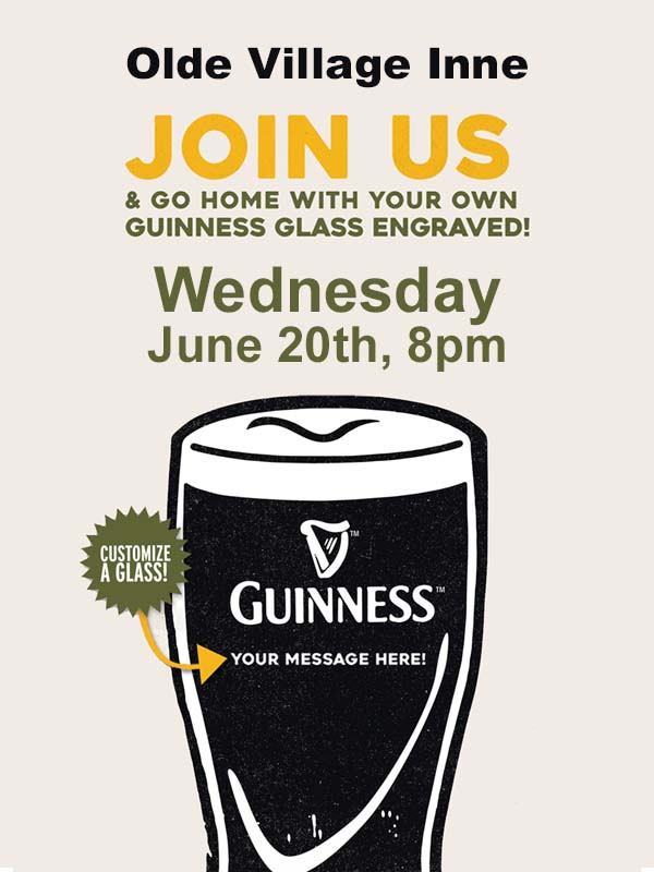 Personalized Guinness Glass Night at Olde Village Inne