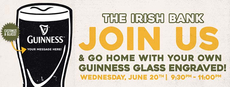 Personalized Guinness Glass Night at The Irish Bank Bar