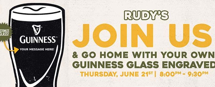 Personalized Guinness Glass Night at Rudy's of Hartsdale