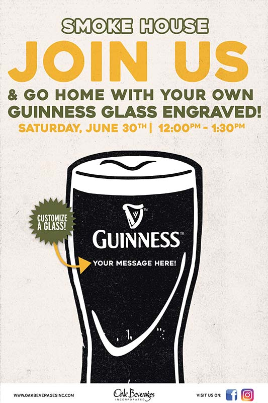 Smokehouse Tailgate Grill Personalized Guinness Glass Event