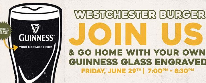Personalized Guinness Glass at Westchester Burger Mt. Kisco