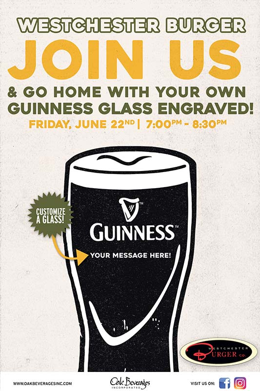 Personalized Guinness Glass at Westchester Burger Rye Brook