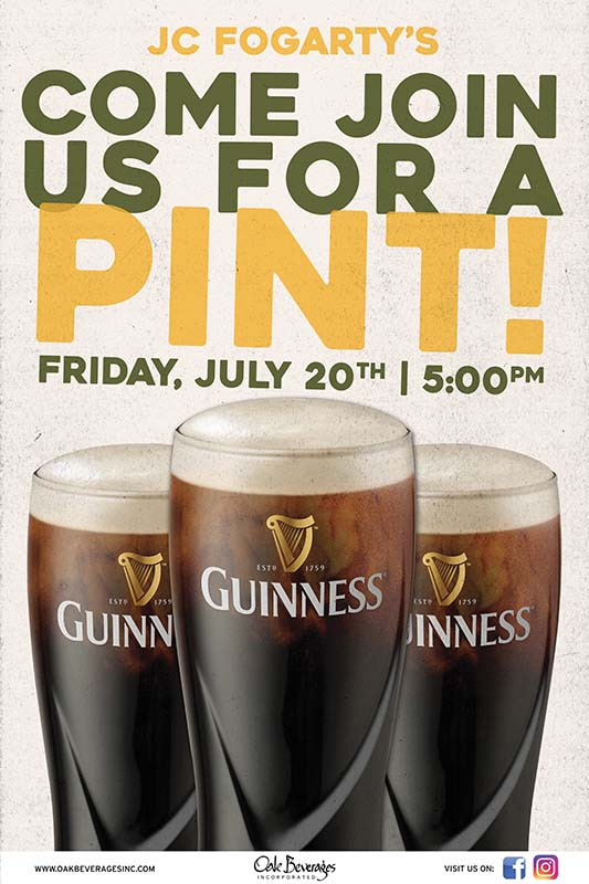 Guinness Pint Night at JC Fogartys