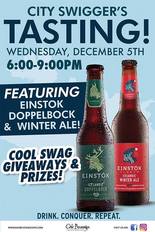 City Swiggers Einstok Beer Tasting Event