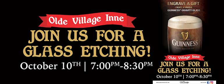 Olde Village Inne Guinness Glass Etching Event