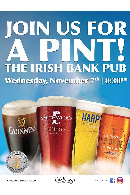 The Irish Bank Pub Guinness Pint Night
