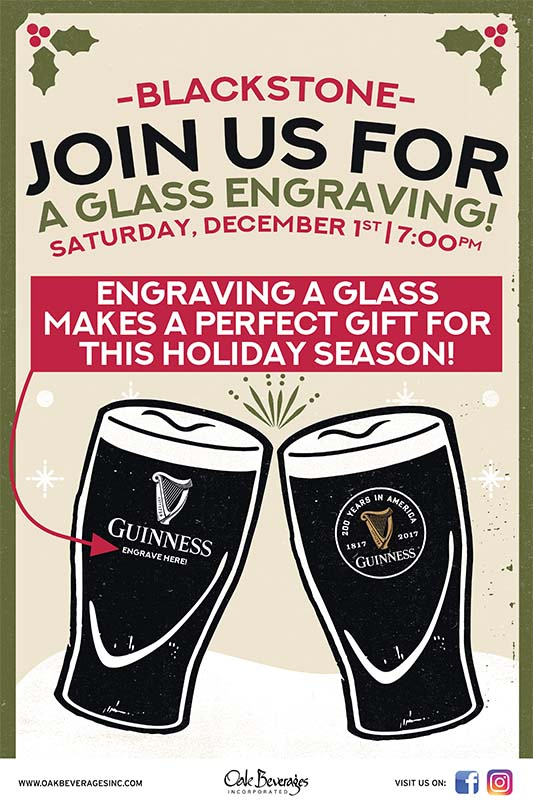Blackstone's Guinness Glass Engraving Party