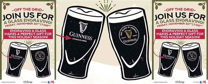 Off The Grid Pub Host Guinness Glass Engraving
