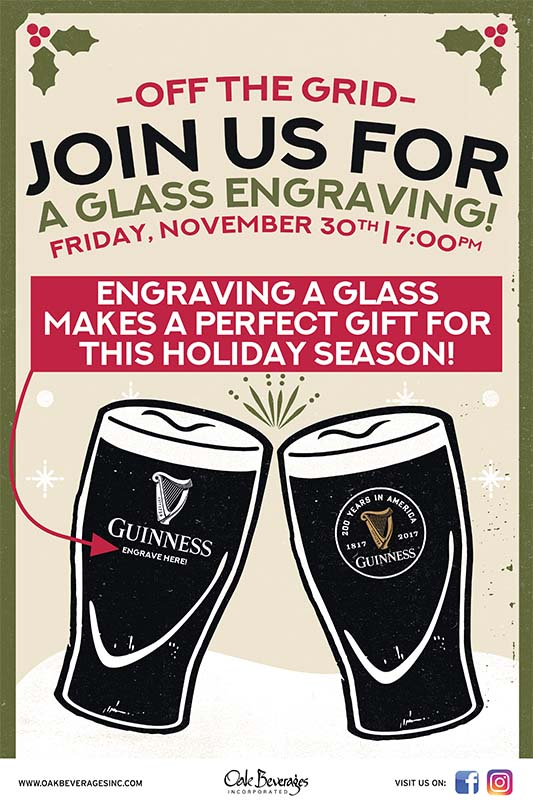 Off The Grid Pub Host Guinness Glass Engraving Event