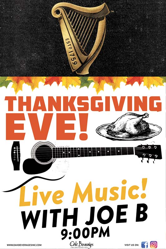 Moriarty's Guinness & Live Music Thanksgiving Eve