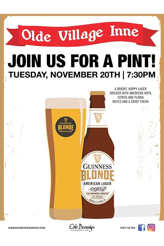 Olde Village Inne Guinness Blonde Pint Night
