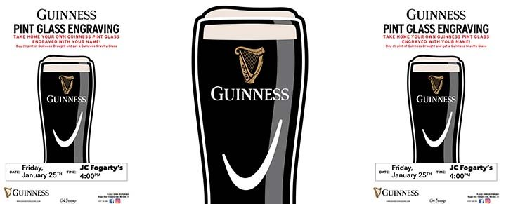 JC Fogarty's Guinness Pint Engraving Event