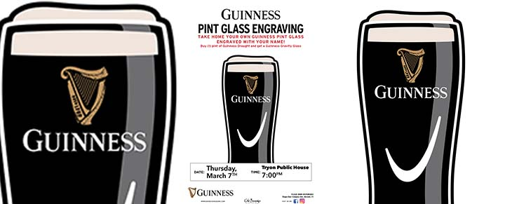 Tryon Public House Guinness Glass Engraving