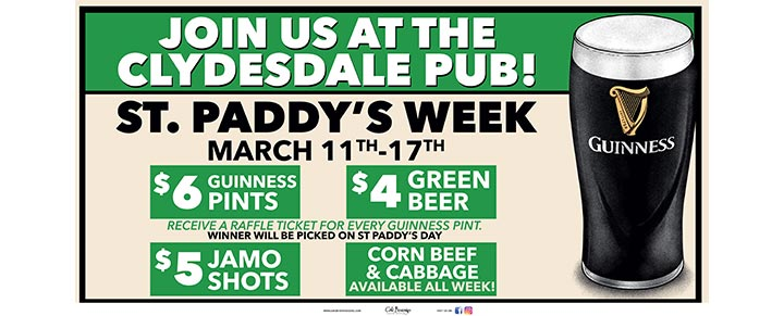 St. Paddy's Guinness Week at The Clydesdale