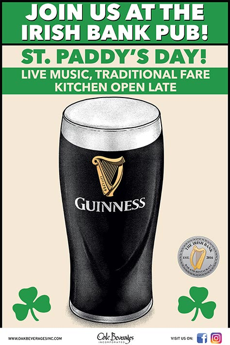 St. Paddy's Day Guinness Celebration at The Irish Bank
