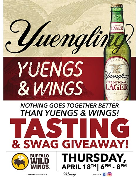 Buffalo Wild Wings Brooklyn Hosts Yuengling Tasting