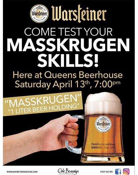 Queens Beerhouse Warsteiner Masskrugen