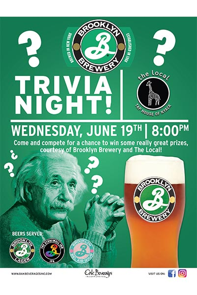The Local of Nyack hosts Brooklyn Brewery Trivia Night