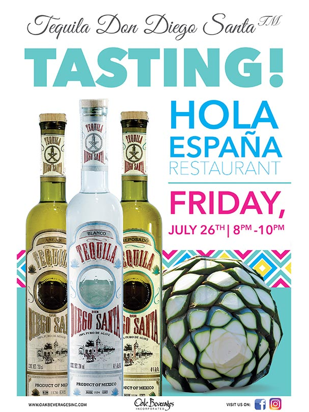 Tequila Don Diego Santa Tasting at Hola Espana