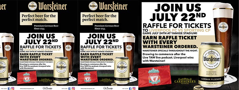 Warsteiner Presents Liverpool FC Ticket Raffle at Carragher's