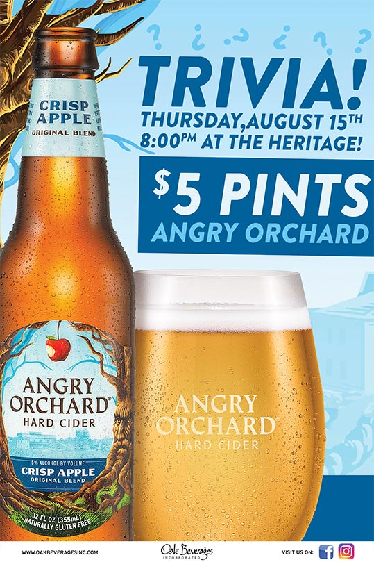 Heritage Hosts Angry Orchard Pint & Trivia Night