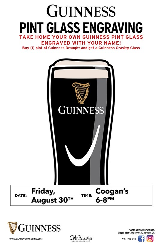 Coogan's Guinness Glass Engraving